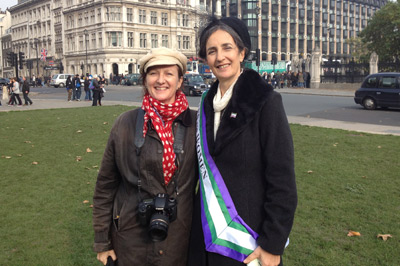Helen Pankhurst and Joan Ashworth in Parliament Square  photo
